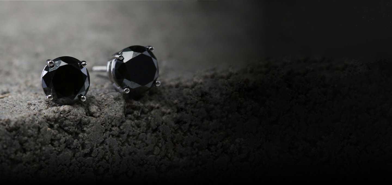 MEN'S BLACK DIAMOND STUD EARRINGS