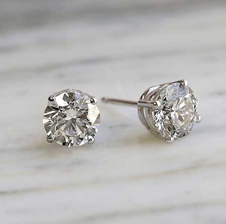 Certified 14k White Gold 4-Prong Basket Round Lab Grown Diamond Stud Earrings 1.00 ct. tw. (I-J, SI1-SI2)