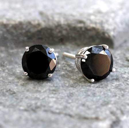 Certified 14k White Gold 4-Prong Basket Round Black Diamond Stud Earrings 2.00 ct. tw.