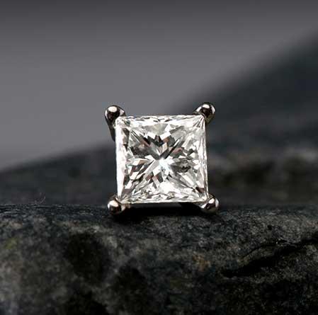 Certified 14k White Gold 4-Prong Basket Princess-Cut Diamond Single Stud Earring 0.50 ct. tw. (I-J, I1-I2)