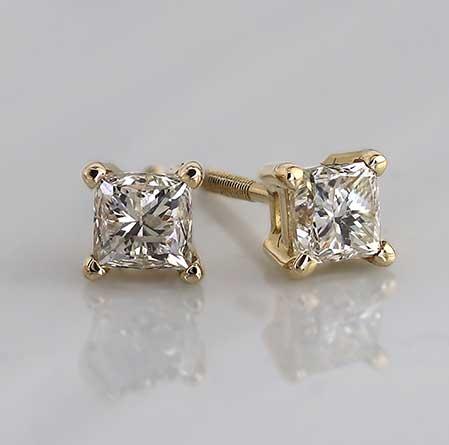 Certified 14k Yellow Gold 4-Prong Basket Princess-Cut Diamond Stud Earrings 0.40 ct. tw. (I-J, I1-I2)