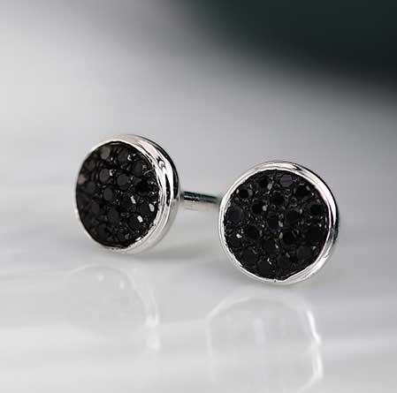 Certified 10k White Gold Round Cut Black Diamond Earrings 0.15 ct. tw.