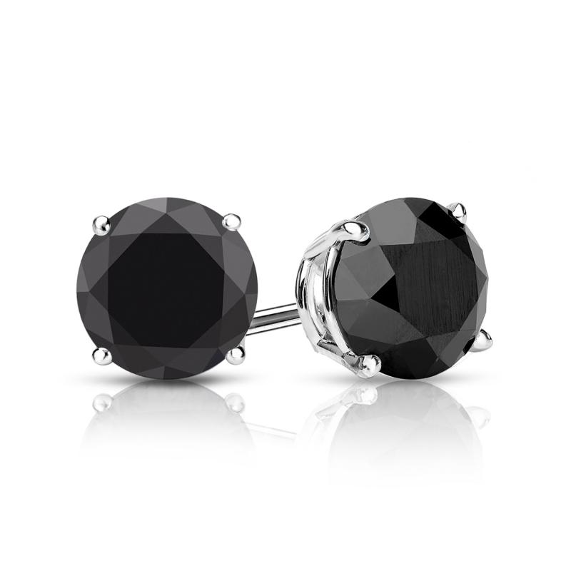 NATURAL BLACK DIAMOND EARRINGS 14K SOLID YELLOW GOLD SCREW BACK STUDS