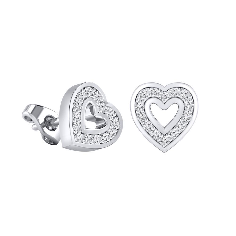 Certified 14k White Gold Heart Shaped Round Cut Diamond Stud Earrings 0 12 Ct Tw Diamondstuds Com