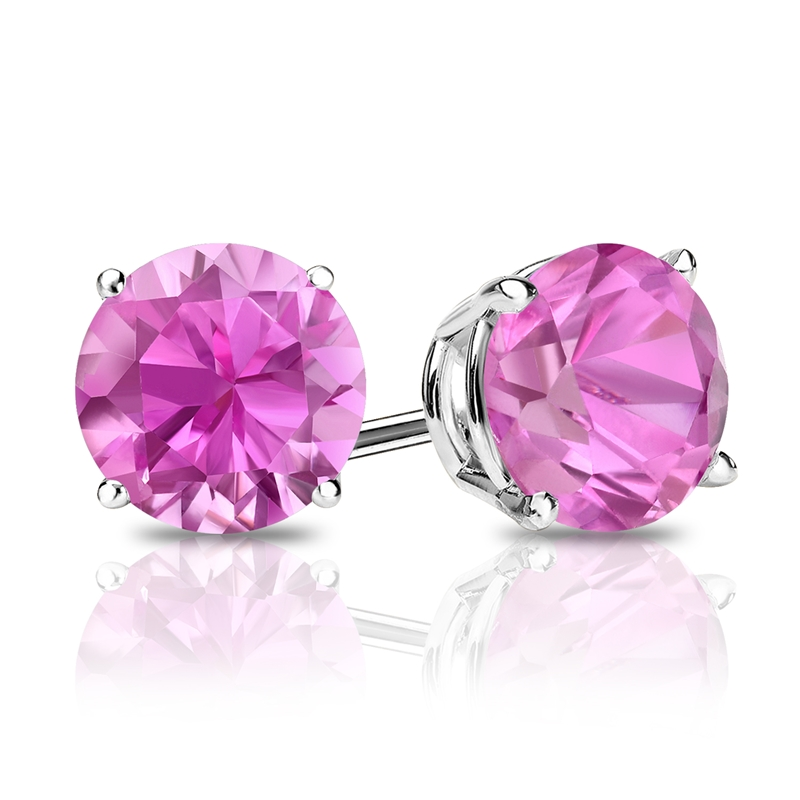 1.50ct Round Cut Pink Lab-Sapphire /& Diamond Halo 14k White Gold Stud Earrings