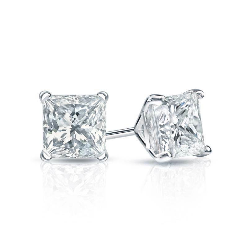 Certified Platinum 4 Prong Martini Princess Cut Diamond Stud Earrings 0 75 Ct Tw H I Si2 Diamondstuds Com