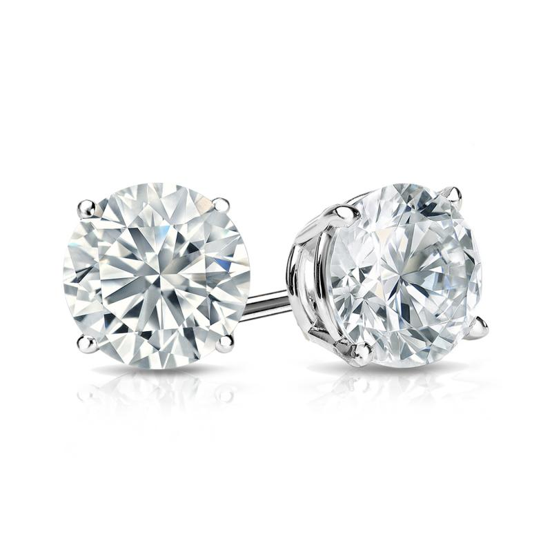 1.25ct Round Created Diamond Earrings 14K White Gold Solitaire Studs Screw-back