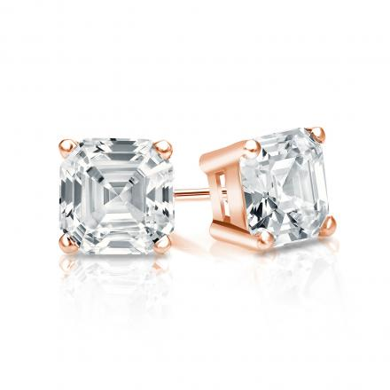 Certified 14k Rose Gold 4-Prong Basket Asscher Cut Diamond Stud Earrings 1.00 ct. tw. (G-H, VS1-VS2)