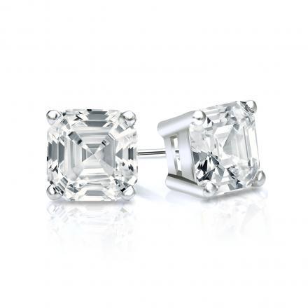 Certified 18k White Gold 4-Prong Basket Asscher Cut Diamond Stud Earrings 1.00 ct. tw. (I-J, I1-I2)