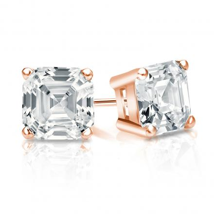 Certified 14k Rose Gold 4-Prong Basket Asscher Cut Diamond Stud Earrings 1.50 ct. tw. (I-J, I1-I2)