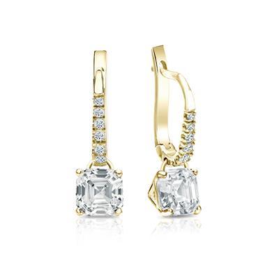 Certified 14k Yellow Gold Dangle Studs 4-Prong Martini Asscher Cut Diamond Earrings 1.50 ct. tw. (G-H, VS1-VS2)