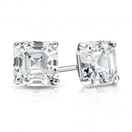 Certified Platinum 4-Prong Martini Asscher Cut Diamond Stud Earrings 1.50 ct. tw. (H-I, SI1-SI2)