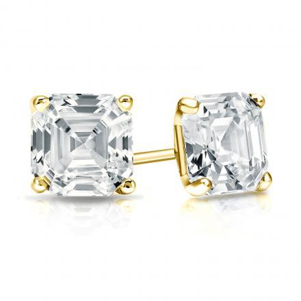 Certified 14k Yellow Gold 4-Prong Martini Asscher Cut Diamond Stud Earrings 1.50 ct. tw. (G-H, VS1-VS2)