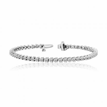 3-Prong Round Diamond Tennis Bracelet in 14K White Gold 3.00 ct. tw. (G-H, SI1-SI2)