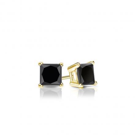 Certified 14k Yellow Gold 4-Prong Basket Princess-Cut Black Diamond Stud Earrings 0.50 ct. tw.