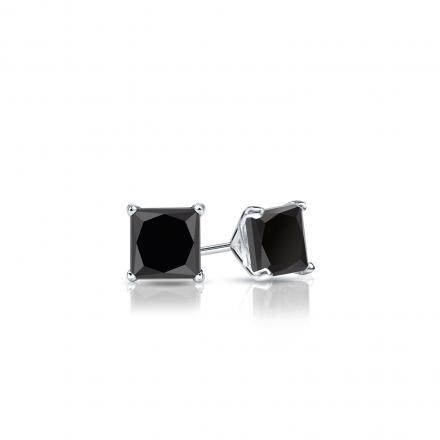 Certified 18k White Gold 4-Prong Martini Princess-Cut Black Diamond Stud Earrings 0.50 ct. tw.