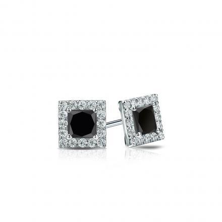Certified 18k White Gold Halo Princess-Cut Black Diamond Stud Earrings 0.50 ct. tw.