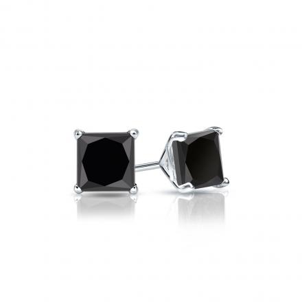 Certified 14k White Gold 4-Prong Martini Princess-Cut Black Diamond Stud Earrings 1.00 ct. tw.