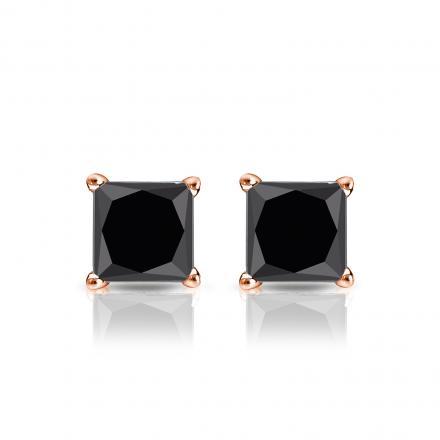 1.50 CT Black Diamond Stud Earrings 14k Gold