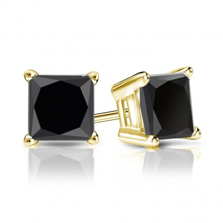 Certified 14k Yellow Gold 4-Prong Basket Princess-Cut Black Diamond Stud Earrings 3.00 ct. tw.