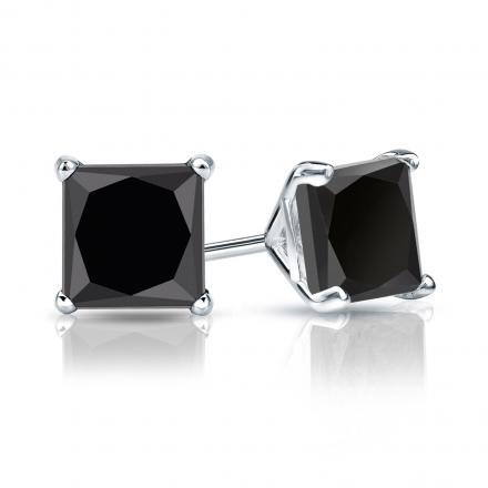 Certified 14k White Gold 4-Prong Martini Princess-Cut Black Diamond Stud Earrings 3.00 ct. tw.