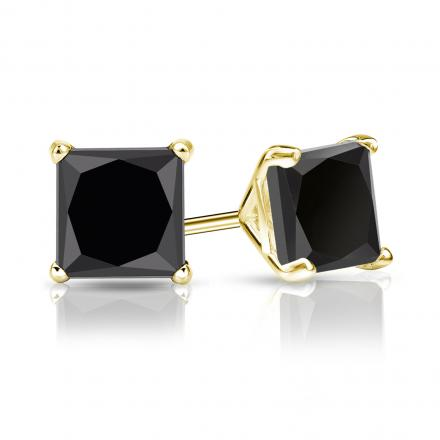Certified 14k Yellow Gold 4-Prong Martini Princess-Cut Black Diamond Stud Earrings 3.00 ct. tw.