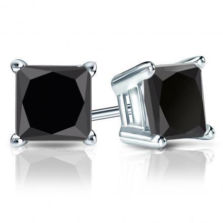 Certified 14k White Gold 4-Prong Basket Princess-Cut Black Diamond Stud Earrings 4.00 ct. tw.