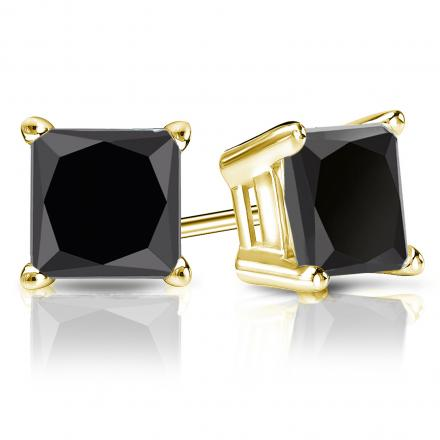 Certified 18k Yellow Gold 4-Prong Basket Princess-Cut Black Diamond Stud Earrings 4.00 ct. tw.