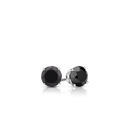 Certified 14k White Gold 4-Prong Basket Round Black Diamond Stud Earrings 0.25 ct. tw.