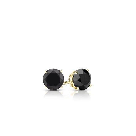 Certified 18k Yellow Gold 4-Prong Basket Round Black Diamond Stud Earrings 0.25 ct. tw.