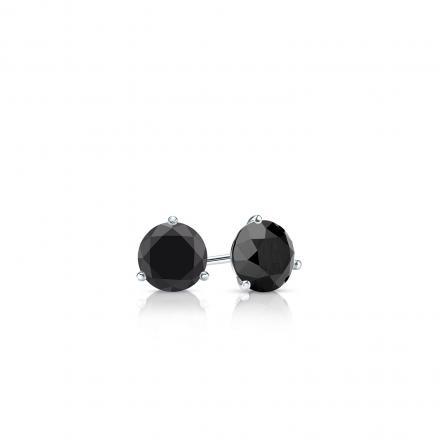 Certified 18k White Gold 3-Prong Martini Round Black Diamond Stud Earrings 0.25 ct. tw.