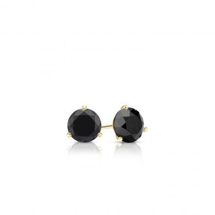 Certified 18k Yellow Gold 3-Prong Martini Round Black Diamond Stud Earrings 0.25 ct. tw.