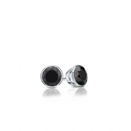 Certified 18k White Gold Bezel Round Black Diamond Stud Earrings 0.25 ct. tw.