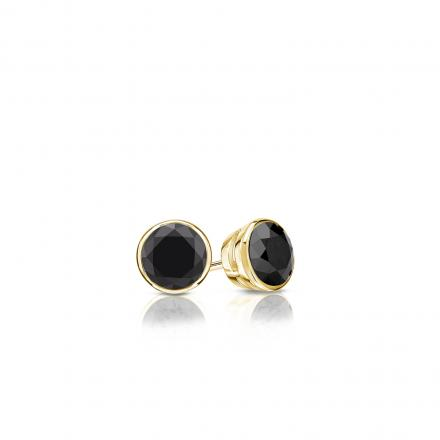 Certified 18k Yellow Gold Bezel Round Black Diamond Stud Earrings 0.25 ct. tw.