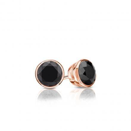Certified 14k Rose Gold Bezel Round Black Diamond Stud Earrings 0.50 ct. tw.