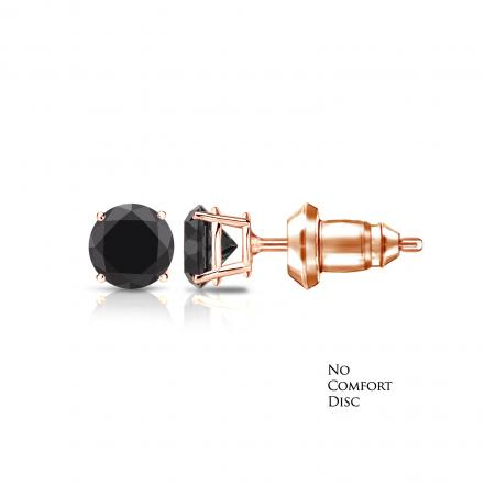 Certified 14k Rose Gold 4-Prong Basket Round Black Diamond Stud Earrings 1.00 ct. tw. with free Patented Secure Lock backing