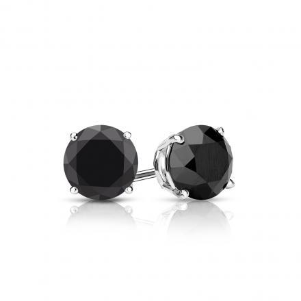 Certified 18k White Gold 4-Prong Basket Round Black Diamond Stud Earrings 1.00 ct. tw.