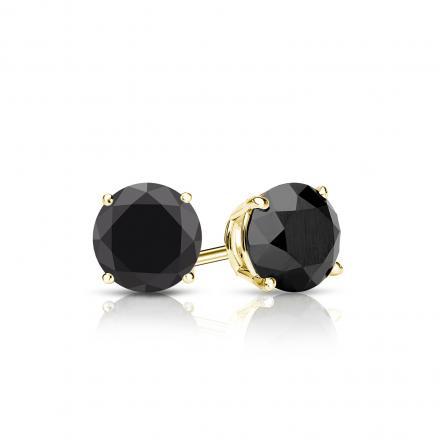 Certified 14k Yellow Gold 4-Prong Basket Round Black Diamond Stud Earrings 1.00 ct. tw.