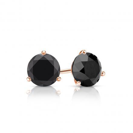 Certified 14k Rose Gold 3-Prong Martini Round Black Diamond Stud Earrings 1.00 ct. tw.