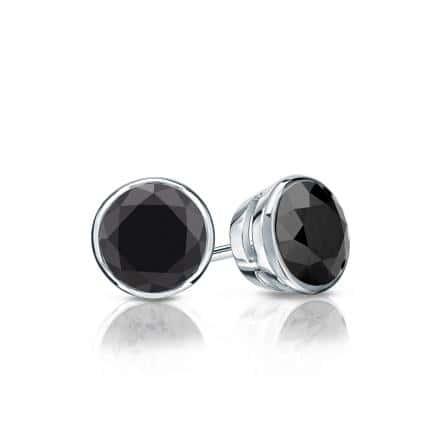 Certified 18k White Gold Bezel Round Black Diamond Stud Earrings 1.00 ct. tw.