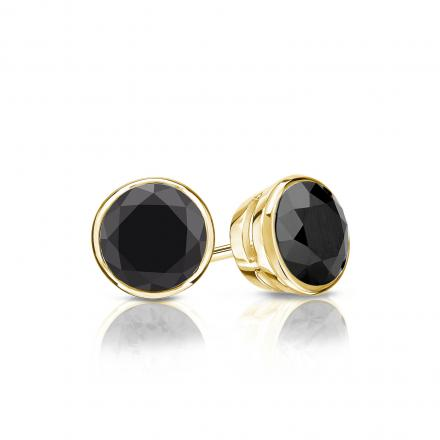 Certified 14k Yellow Gold Bezel Round Black Diamond Stud Earrings 1.00 ct. tw.