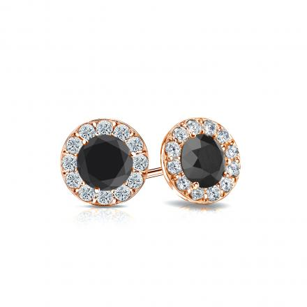Certified 14k Rose Gold Halo Round Black Diamond Stud Earrings 1.00 ct. tw.