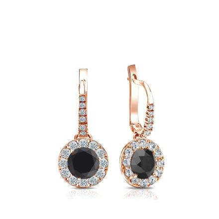 Certified 14k Rose Gold Dangle Studs Halo Round Black Diamond Stud Earrings 1.00 ct. tw.