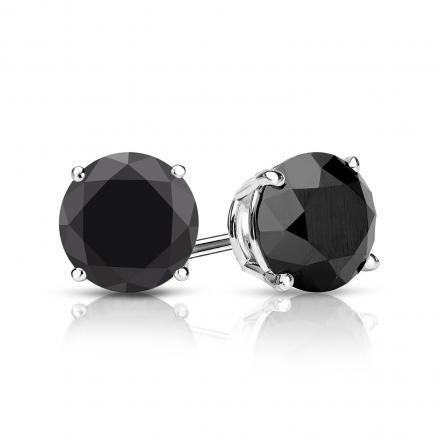 Round Black Diamond Stud Earrings 2.00 ct. tw. In 14k White Gold 4-Prong Basket