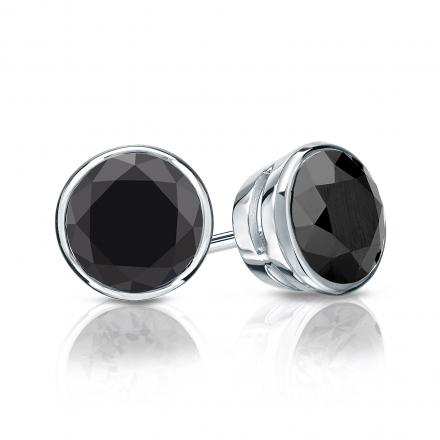 Certified 14k White Gold Bezel Round Black Diamond Stud Earrings 2.00 ct. tw.