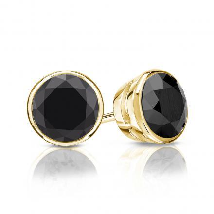 Certified 14k Yellow Gold Bezel Round Black Diamond Stud Earrings 2.00 ct. tw.