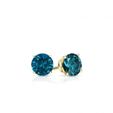 Certified 14k Yellow Gold 4-Prong Basket Round Blue Diamond Stud Earrings 0.25 ct. tw. (Blue, SI1-SI2)