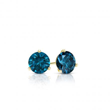 Certified 14k Yellow Gold 3-Prong Martini Round Blue Diamond Stud Earrings 0.25 ct. tw. (Blue, SI1-SI2)