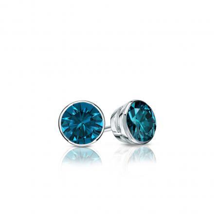 Certified Platinum Bezel Round Blue Diamond Stud Earrings 0.25 ct. tw. (Blue, SI1-SI2)
