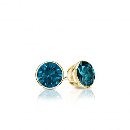 Certified 18k Yellow Gold Bezel Round Blue Diamond Stud Earrings 0.25 ct. tw. (Blue, SI1-SI2)